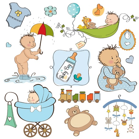 new baby boy elements set isolated on white background  Vector