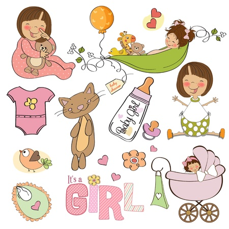 new baby girl, elements set isolated on white background  Vector