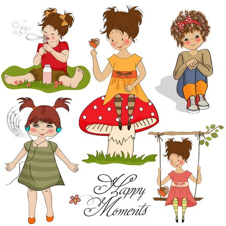 happy moments items collection on white background  Vector