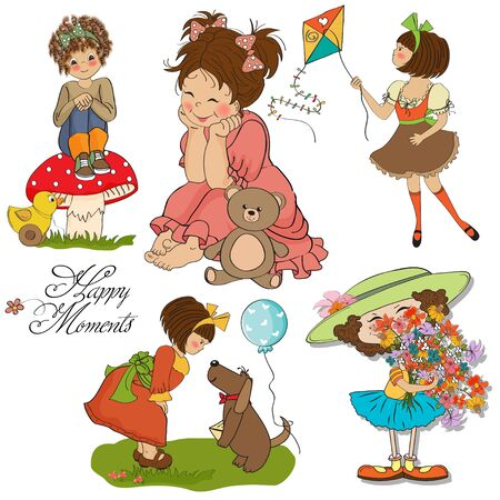 happy moments items collection on white background Stock Vector - 13543052