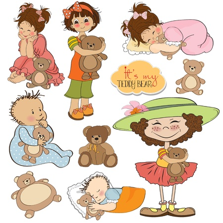 kids with teddy bears items collection  Vector
