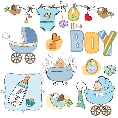 baby boy shower elements set isolated on white background  Vector
