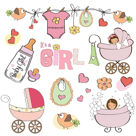 girl in shower: baby girl shower elements set isolated on white background