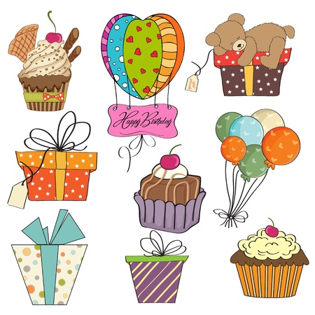 birthday items collection on white background Vector