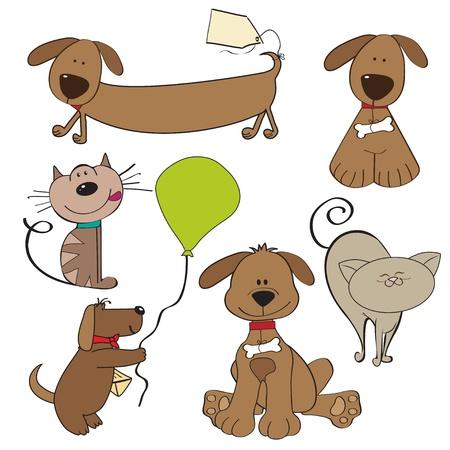 Mascotas de dibujos animados recogida en el fondo blanco