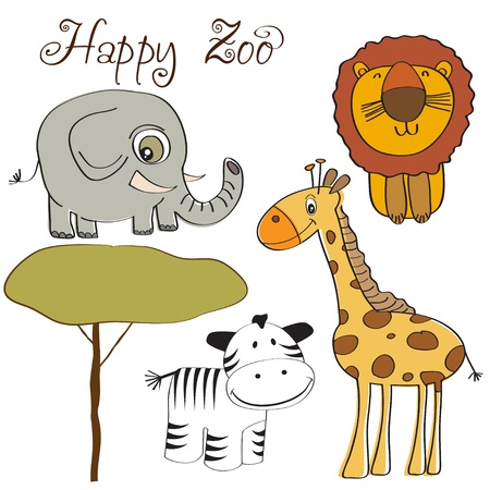 vector illustration of cute wild animal set including giraffe, zebra, lion and elephant  Vector