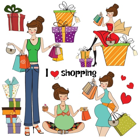 girls at shopping items set on white background Stock Vector - 13522710