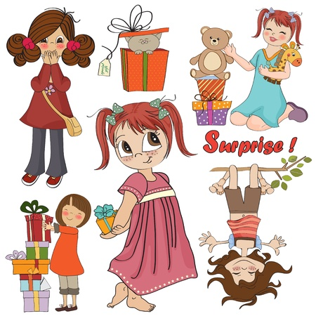 cute girls collection isolatedon white background Vector