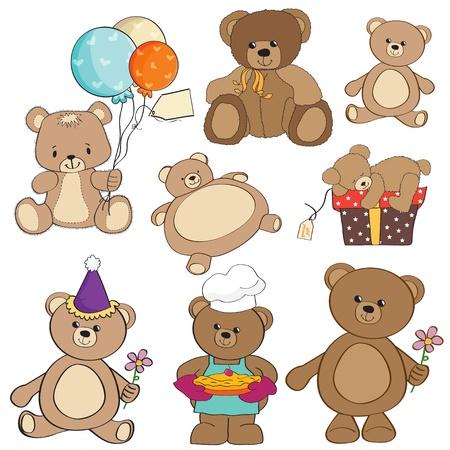 conjunto de diferentes elementos osos de peluche para el diseño en formato vectorial