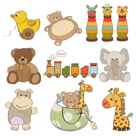 items: illustration of different toys items for baby  Illustration