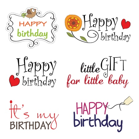 Happy Birthday Lettering Series Stock Vector - 13543048