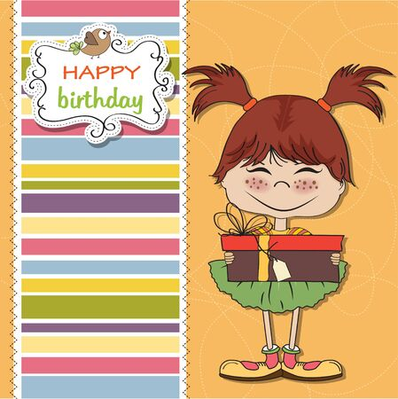 pretty doodle girl with gift  Vector