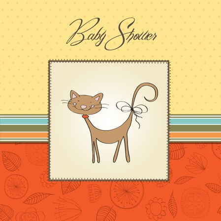 new baby shower card with cat Stock Vector - 13543150