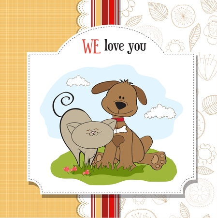 cat s: dog   cat s friendship  Illustration