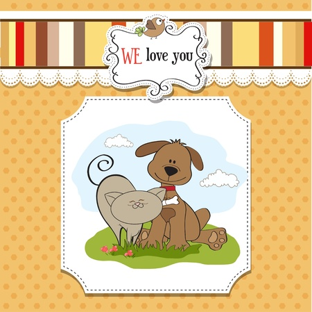 puppy and kitten: dog   cat s friendship  Illustration