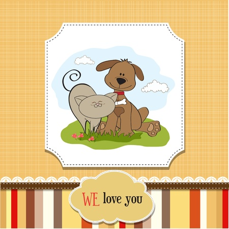 dog   cat s friendship  Vector