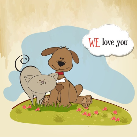 cat dog: dog   cat s friendship  Illustration
