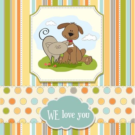 purebred cat: dog   cat s friendship  Illustration