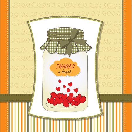 plugged: Thank you greeting card with hearts plugged into the jar Illustration