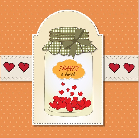 Thank you greeting card with hearts plugged into the jar Stock Vector - 13587064