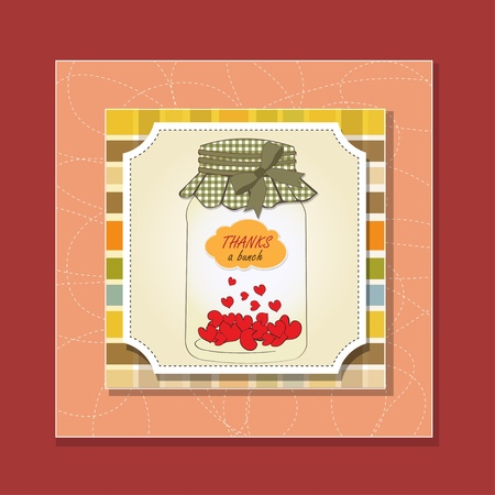 Thank you greeting card with hearts plugged into the jar Stock Vector - 13587067