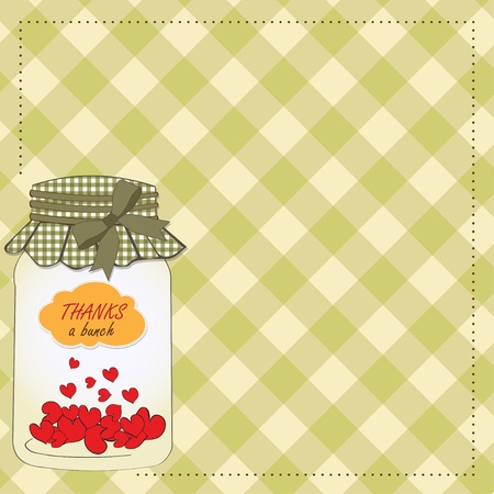 Thank you greeting card with hearts plugged into the jar Vector