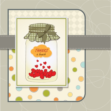 Thank you greeting card with hearts plugged into the jar Stock Vector - 13587070