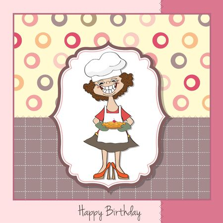 woman eating cake: happy birthday card with pie