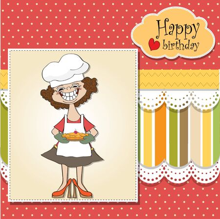 happy birthday card with pie Vector