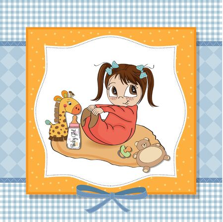 little baby girl play with her toy  baby shower card Stock Vector - 13637817