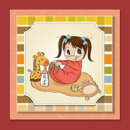 little baby girl play with her toy  baby shower card Vector