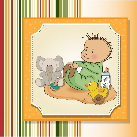 little baby boy play with his toy  baby shower card Vector