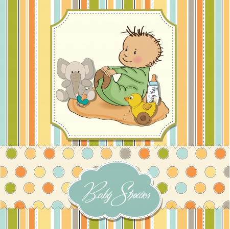 little baby boy play with his toy  baby shower card Stock Vector - 13637784