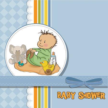 felicitaciones cumpleaÑos: pequeño bebé play boy con su tarjeta de juguete de la ducha del bebé