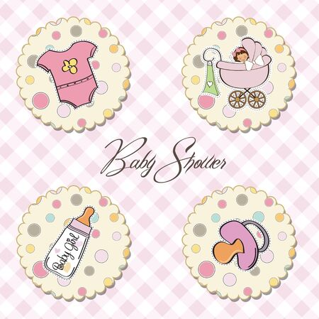 flower clip art: new baby girl items set