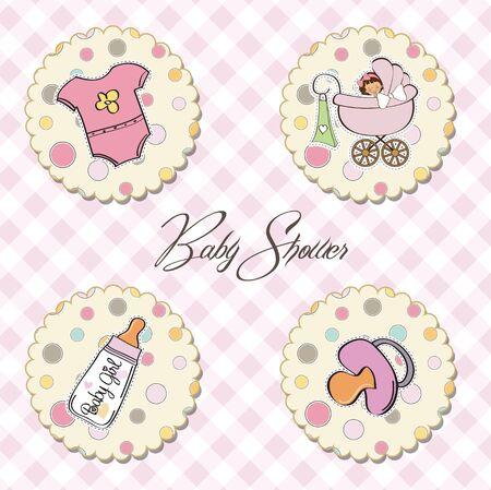new baby girl items set Stock Vector - 13637812