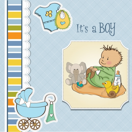 little baby boy play with his toy  baby shower card Stock Vector - 13637824