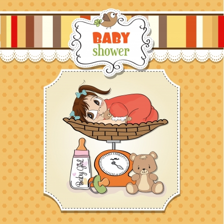 neonatal: baby girl weighed on the scale Illustration
