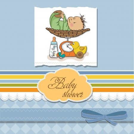 weigher: baby boy weighed on the scale Illustration