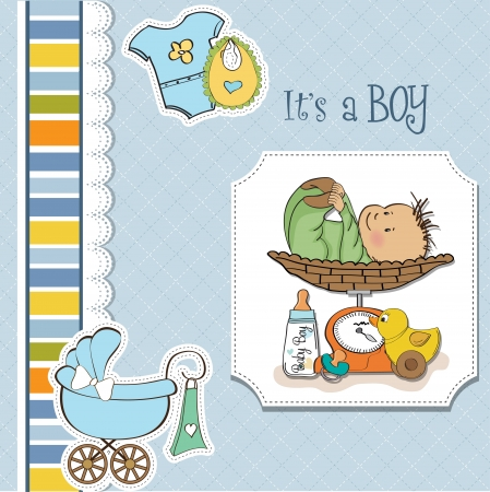 infancy: baby boy weighed on the scale Illustration