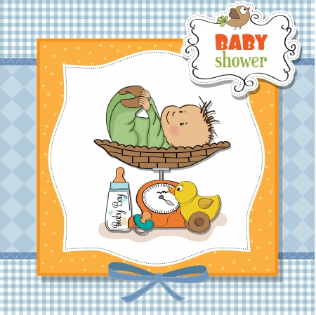 weighed: baby boy weighed on the scale Illustration