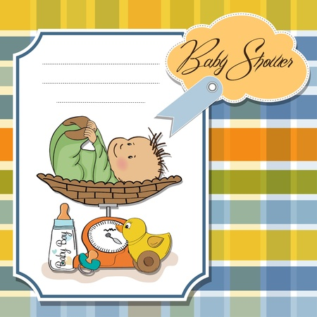 baby boy weighed on the scale Stock Vector - 13661522