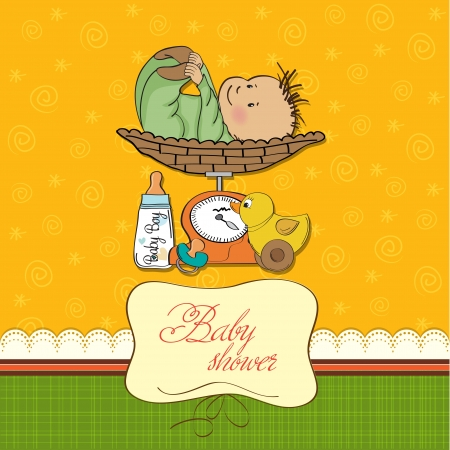 baby boy weighed on the scale Stock Vector - 13661535