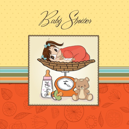weighed: baby girl weighed on the scale Illustration