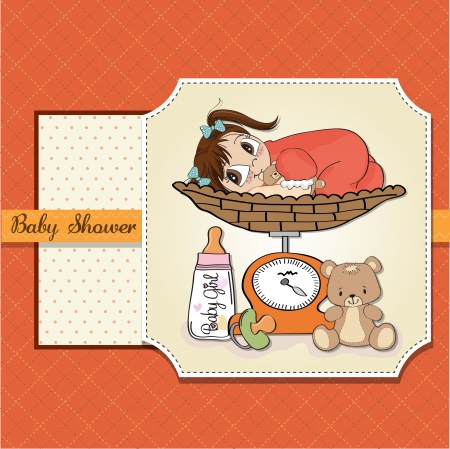 baby girl weighed on the scale Vector