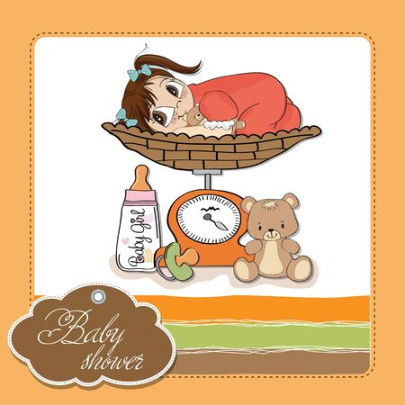 baby girl weighed on the scale Stock Vector - 13661532