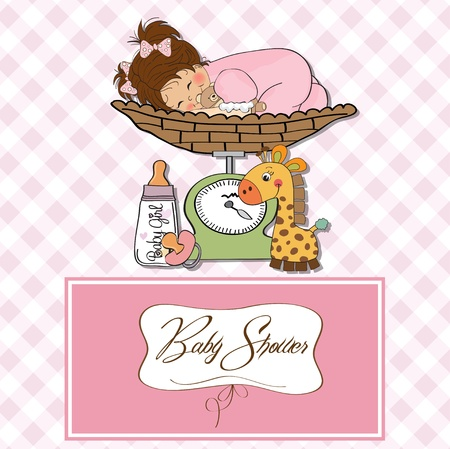 Beautiful baby girl on on weighing scale  Stock Vector - 13747300