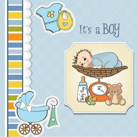 baby boy weighed on the scale Stock Vector - 13747339