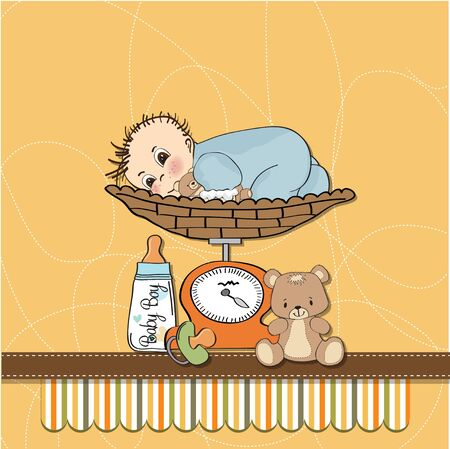 neonatal: baby boy weighed on the scale
