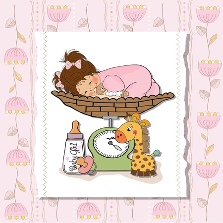 Beautiful baby girl on on weighing scale Stock Vector - 13747340
